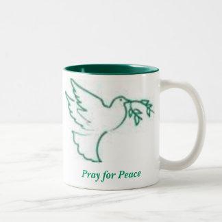 Peace Dove 1, Pray for Peace Two-Tone Coffee Mug