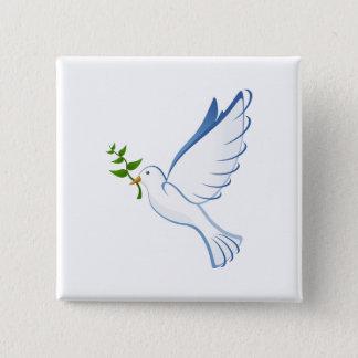Peace dove cartoon 2 inch square button