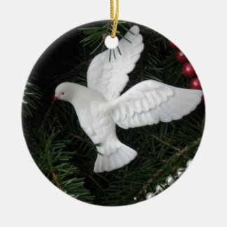 Peace Dove Christmas Ornament, photograph Ceramic Ornament