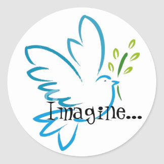 peace_dove_flying, Imagine... Classic Round Sticker