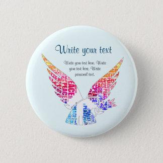 Peace Dove. Harmony Hippie Watercolor 2 Inch Round Button