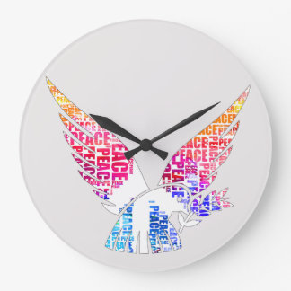 Peace Dove. Harmony Hippie Watercolor Large Clock