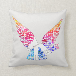 Peace Dove. Harmony Hippie Watercolor Throw Pillow