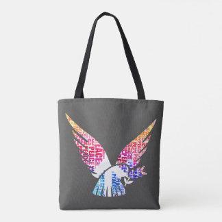 Peace Dove. Harmony Hippie Watercolor Tote Bag