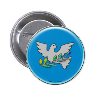 Peace Dove on Sapphire Blue 2 Inch Round Button