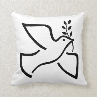 Peace Dove Silhouette White Throw Pillow
