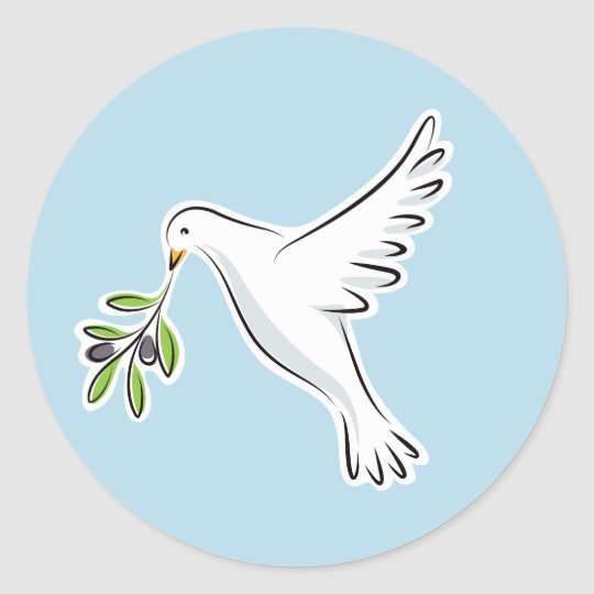 Peace Dove With Olive Branch On Blue Background Classic