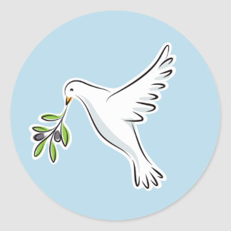 Peace dove with olive branch on blue background round sticker