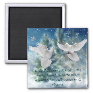 Peace doves Luke 2:14 Christmas magnet