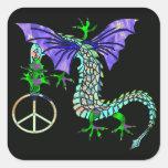 Peace Dragon Square Sticker