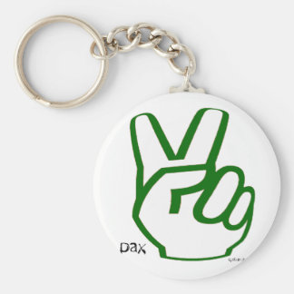 Peace Fingers - Green Basic Round Button Keychain