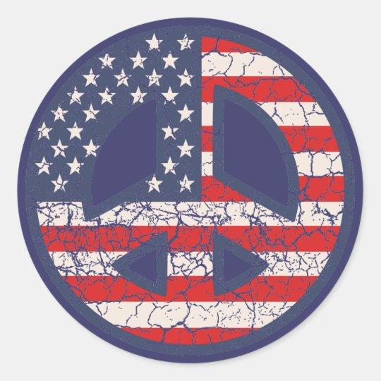 Peace-Flag-dist Classic Round Sticker