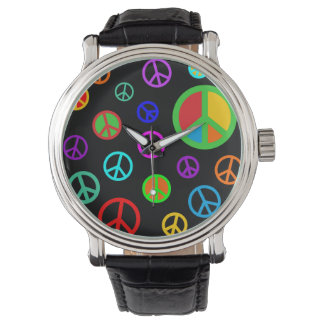 PEACE - Flat pattern multicolored + your backgr. Watches