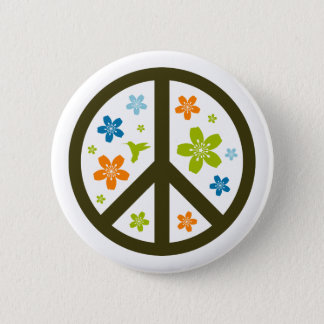 Peace Floral Design 2 Inch Round Button
