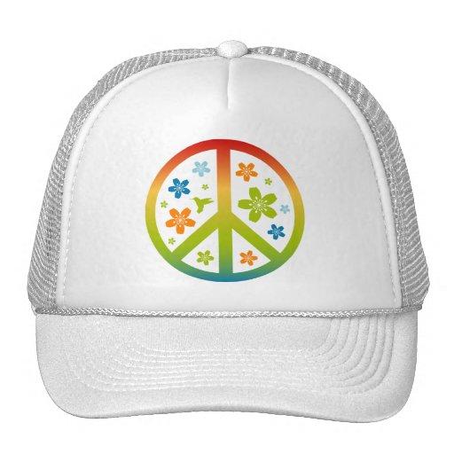 Peace Floral Design Mesh Hat