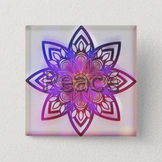 Peace flower mandala. 2 inch square button