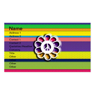 Peace Flower Power Colorful Stripes Business Card Templates