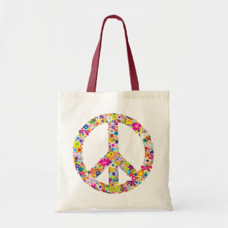 Peace Flowers Budget Tote Bag