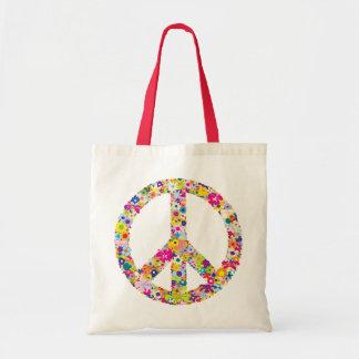 Peace Flowers Budget Tote Bag