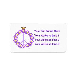 Peace Flowers Butterfly Address Label