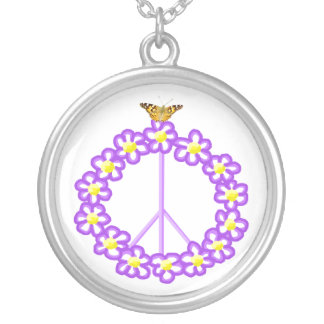 Peace Flowers Butterfly Necklace
