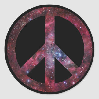 Peace for all the universe classic round sticker