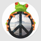 peace frog1 classic round sticker