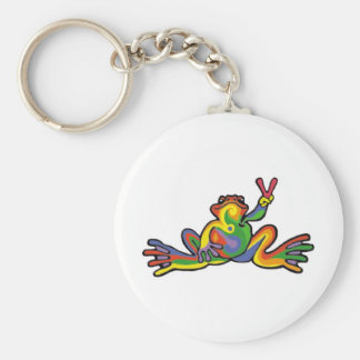 Peace Frog Basic Round Button Keychain