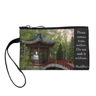 Peace From Within, Buddha Quote Coin Purses