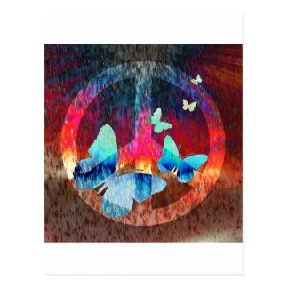 Peace-Full Blue Butterflies Postcard