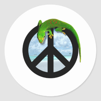 PEACE GECKO CLASSIC ROUND STICKER