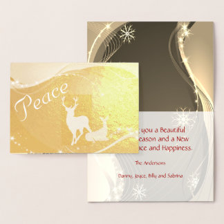 Peace Glitzy Holiday Card with Doe and Buck