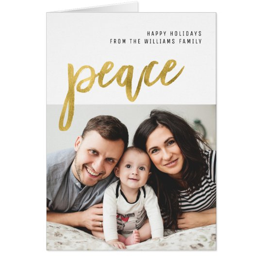 Peace | Gold Calligraphy Holiday Photo Card