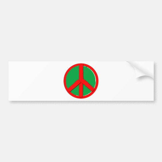 Peace - Green and Red Bumper Sticker