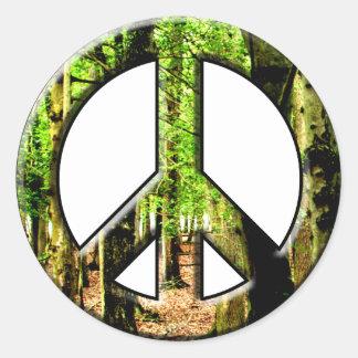 Peace Green Classic Round Sticker