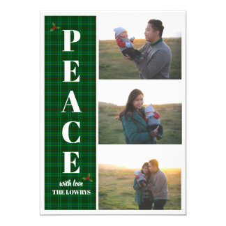 Peace Green Plaid Holiday Christmas Greeting Card