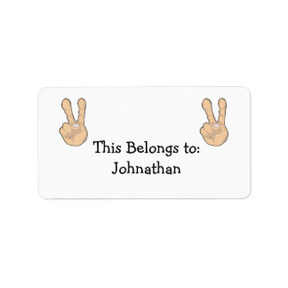 peace hand gesture custom address labels