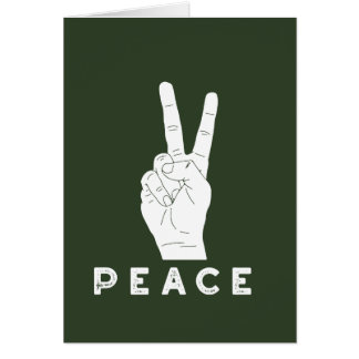 Peace Hand Sign Green Holiday Card