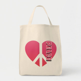 """""""Peace Heart"""" Grocery Tote"""