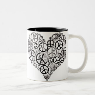 Peace Heart Grunge Black Two-Tone Coffee Mug
