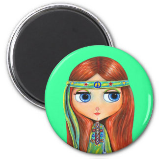 Peace Hippie Doll Magnet