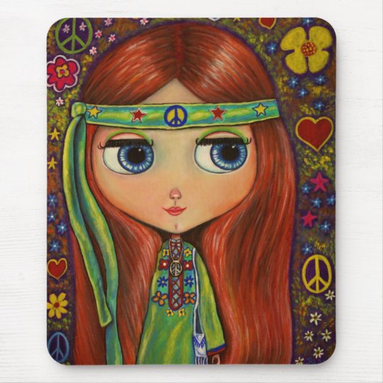 Peace Hippie Doll Mouse Pad