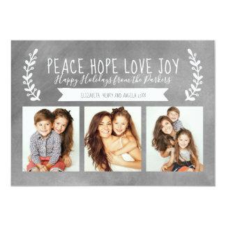 Peace Hope Love Joy Holiday Photo Chalkboard Card