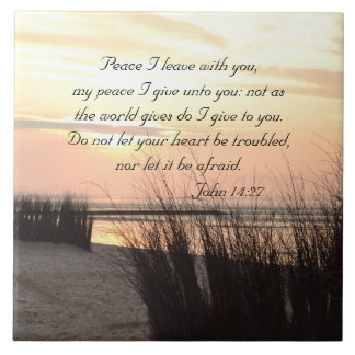 Peace I leave with you, Bible Verse Ocean Sunset Tile