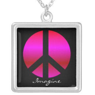 "Peace ""Imagine"" Necklace, Sterling Silver Pendant"