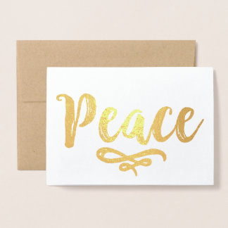Peace in Gold | Photo Holiday Foil Card