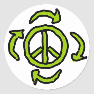 Peace in Green Classic Round Sticker