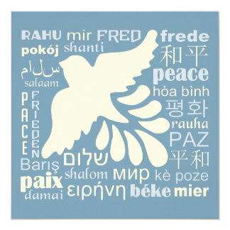 PEACE in languages custom card / invitation