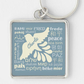 PEACE in languages custom name & color key chain
