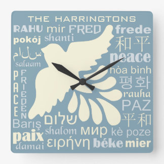 PEACE in languages custom name & color wall clock